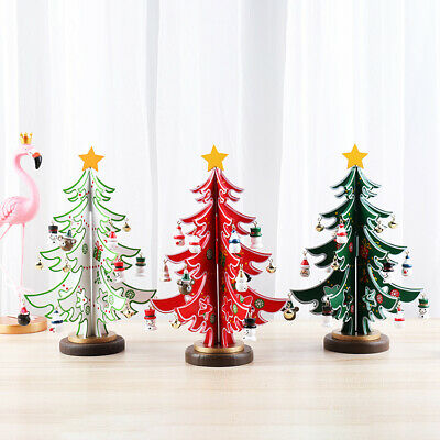 Wooden Table Top Christmas Tree With Mini Pendant Xmas Party Tabletop Decor • 9.39£