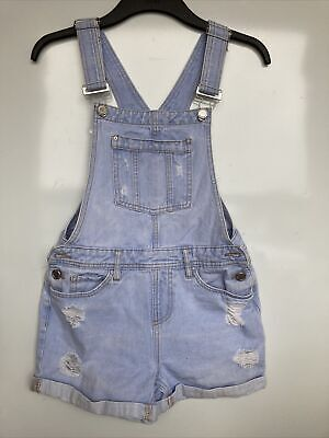 NEW LOOK Girls Dungarees Shorts Blue Denim Age 12 Years • 5£