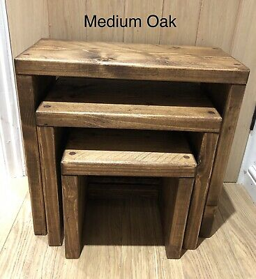 Chunky Rustic Pine 3 X Nest Of Tables • 65£