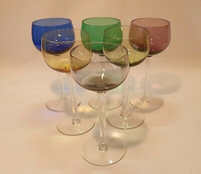 Set Of Six Wine Glasses Excellent Conditon. 6 1/2  Tall. Harlequin Colours • 20£