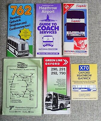 6 X Bus Timetables Oxford National Express Thamesdown Green Line 1980s • 1.99£