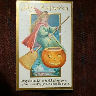 $ CDN13 • Buy Vintage  Jolly Halloween  Postcard,  226C, Witch Riding A Broomstick Never Used