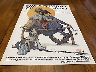 """$ CDN194.63 • Buy Signed Norman Rockwell/The Saturday Evening Post """"Little Spooners"""" April 24 1926"""