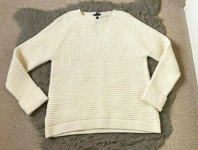 Monsoon Cream Ribbed Knitted Long Sleeve Boxy Slouchy Jumper Size M (12/14) • 14£