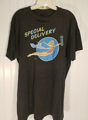 $ CDN111 • Buy VTG 3D Emblem Just Brass T Shirt Special Delivery Pin Up Girl L Thin 1989