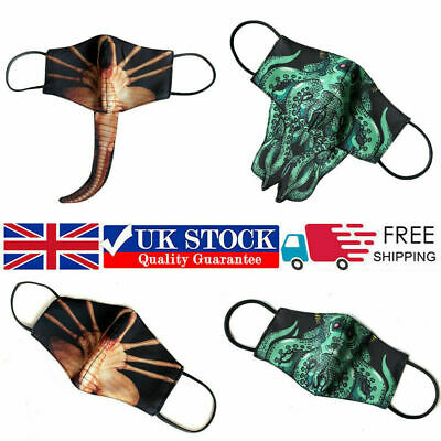 3D Facehugger Face Mask Washable Reusable Adults Kids Mouth Cover Protection UK • 3.98£
