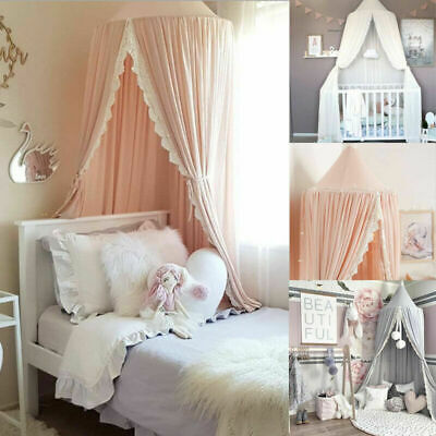 Kids Baby Bed Canopy Bedcover Mosquito Net Curtain Bedding Home Dome Tent Cotton • 24.99£