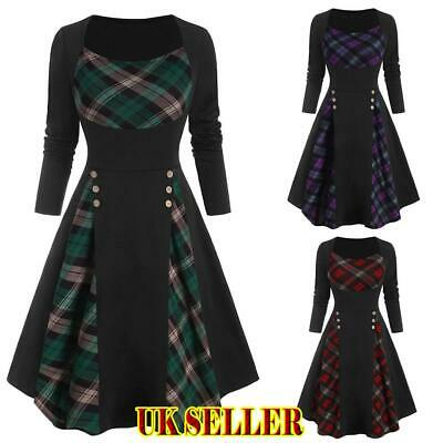 UK Women Christmas Dress Plaid A-Line Xmas Party Gown Retro Swing Dress Evening • 11.49£