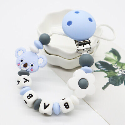 Baby Pacifier Clips Name Personalised Teething Dummy Clip Chain Silicone Teether • 5.99£