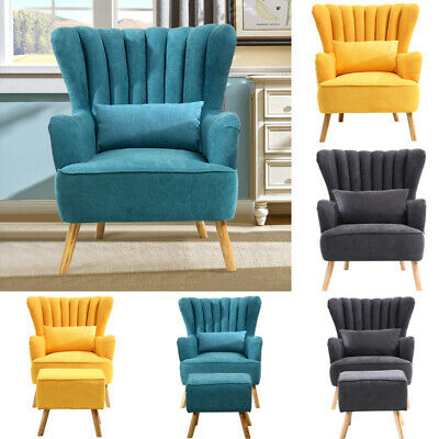 Chesterfield Wing Back Armchair Ridged Scallop Shell Tub Chair Single Seat Sofa • 179.95£