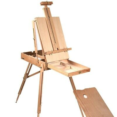 Tripod Folding Wooden Easel With Sketch Box Artist Table Canvas Painting Studio • 89.01£