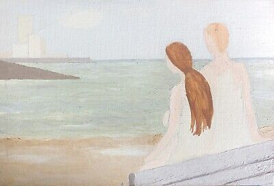 Genevieve Zondervan (1922-2013) Surrealist French Oil Painting - Figures By Sea • 8.50£