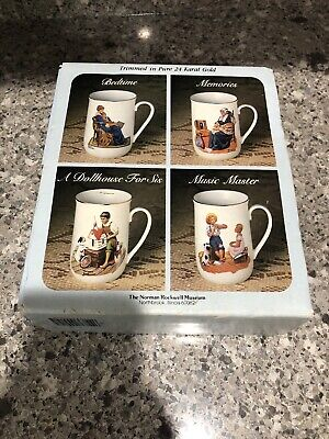 $ CDN10.38 • Buy Brand New Set Of 4 Norman Rockwell Mugs That Are 4  Tall, 1982 With 24k Gold Tri