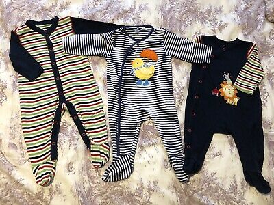 Gorgeous Baby Boys 3-6 Months Blue Zoo Sleepsuits Bundle • 2.90£
