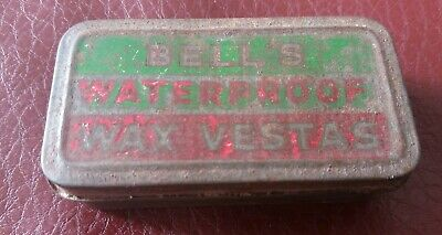 Vintage  Bell's Wax Waterproof Wax Vestas Tin With Contents Green & Red Tin • 19.99£