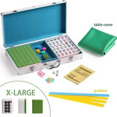 $64.99 • Buy 144 Green Tiles Chinese Mahjong Silver Aluminum Case With Pushers And Cover Set