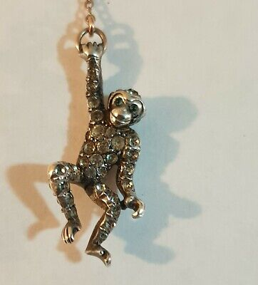 Victorian ..hanging Monkey Gold Brooch • 50£