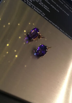 Beautiful Amethyst Colour Stones 9ct Gold Earrings Studs Oval Design Butterflys • 14.70£