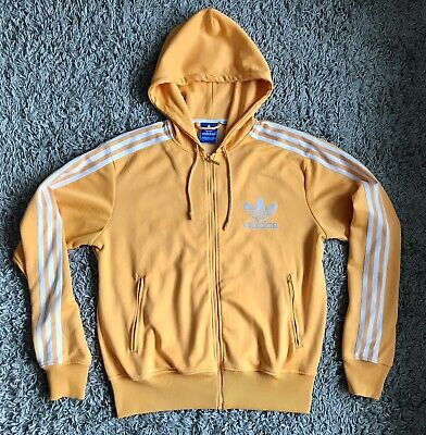 Adidas Originals Mens Retro Yellow Zip Up Hooded Track Top Jacket Size Large • 1.99£