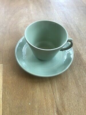 Vintage Beryl Woods Ware Cup And Saucer Green • 3£