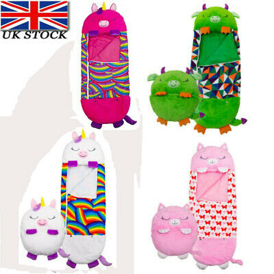 Happy Nappers Sleeping Bag Kids Boys Girls Play Pillow Unicorn Dog Dragon Cat • 21.99£