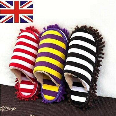 Winter Floor Cleaning Slippers Stripe Scuffs Mules Microfiber Mop Dusting Shoes • 8.99£