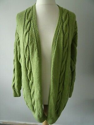 Lovely Hand Knitted Long Length Boyfriend Cardigan, Size 14, 16 • 0.99£