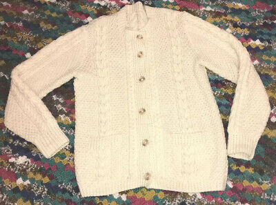 """Hand Knitted Ivory Cream Cable Aran Button Cardigan Size Xl 44"""" Chest Xc • 9.99£"""
