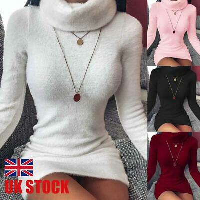 UK Womens Turtleneck Knitted Jumper Dress Mini Short Bodycon Ladies Long Sweater • 10.59£