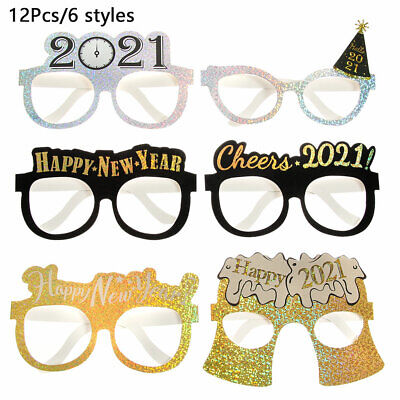 12Pcs 2021 Happy New Year Glitter Paper Glasses Eve Festival Party Decoration • 4.39£