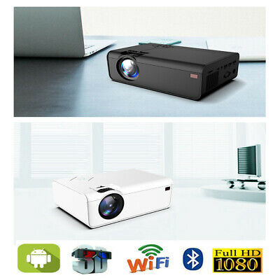 WiFi Android Projector 20000 Lumens LED HD 1080P 4K Home Theater Cinema HDMI USB • 83.99£