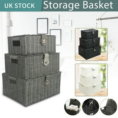 Set Of 3 Storage Basket Hamper Resin Wicker Woven Hamper Box With Lid And Lock • 18.59£