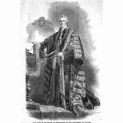 £7.95 • Buy DUKE OF WELLINGTON In Robes Of Chancellor Oxford University - Antique Print 1852
