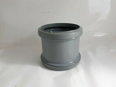 1 X 110mm Soil Double Pipe Coupler Grey Pipe Waste Fitting Connector Coupling • 2.90£