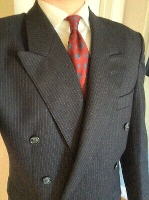 Vintage Double Breasted Navy Pinstripe Suit 40R Demob Mobster WW2 40's Gangster • 34.99£