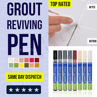 Grout Pen Anti-Mould Reviver Repair Restoration Kit Whitener Renew Tile Gap Line • 2.99£