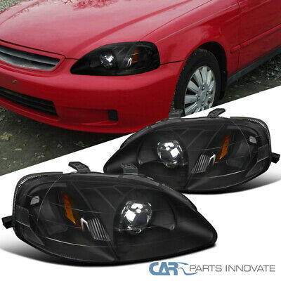 $107.96 • Buy For 99-00 Honda Civic 2/3/4Dr Matte Black Projector Headlights Lamps Left+Right