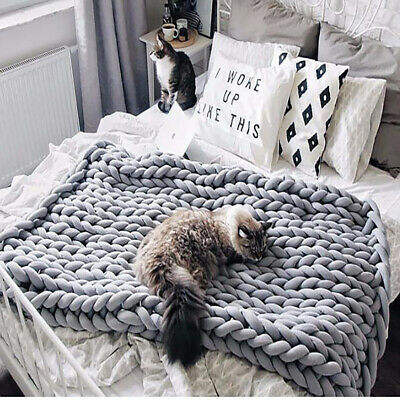 £28.95 • Buy Wool Winter Warm Hand Woven Blanket Chunky Cable Knit Sofa Chair Blanket Grey