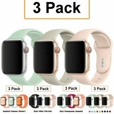 AU12.99 • Buy 3 Pack Silicone Sport Band Strap Fit Apple Watch 6 5 4 1 IWatch SE 38/40/42/44mm