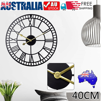AU33.62 • Buy Large Roman Wall Clock Big Numeral Giant Round Face Indoor Garden 40cm Silent A