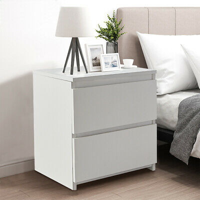 Modern Bedside Table Cabinet Chest Of Drawers Nightstand 2 Drawers Bedroom White • 27.99£