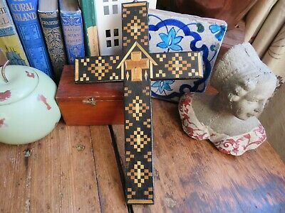 Lovely Antique / Vintage Hand Crafted Inlaid Wooden Cross  • 24.99£