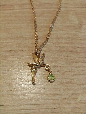Disney Tinkerbelle Ladies Necklace Girls Womens Gold Colour, Green Stone • 4£