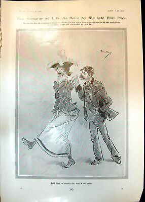 Antique Print Humour Life Phil May Couple Bus Peter Pan Wendy Letters 1906 20th • 23£