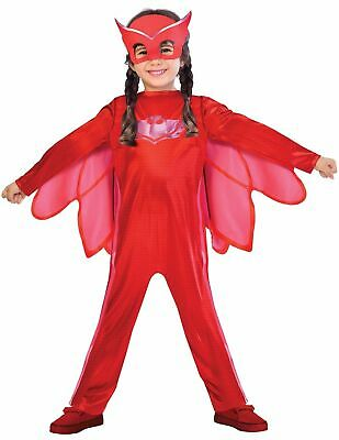 Boys Girls Classic PJ Masks Red Owlette TV Fancy Dress Costume Outfit 3-4 Yrs • 12.99£