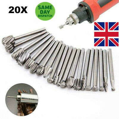 20pcs Tungsten Steel Solid Carbide Burrs For Dremel Rotary Tool Set Drill Bit UK • 7.88£