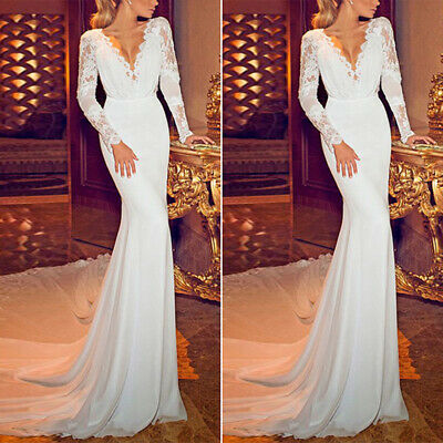 Woman Bridesmaid Dress Ladies Lace Formal Long Party Evening Ball Gown Wedding • 16.51£