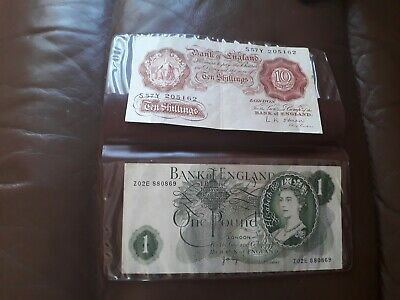 Ten Shilling Banknote & One Pound Note • 5.50£