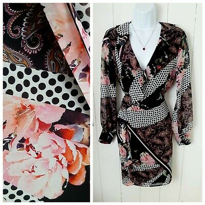 Marciano Guess Peony Floral Wrap Black Spotted Dress Mock Silk Pencil Wiggle XS • 9.99£