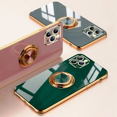 AU11.73 • Buy Luxury Ring Case For IPhone Silicone TPU Soft Cover With Ring Holder Stand